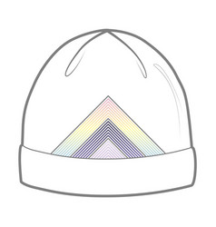 white hat with geometric print vector image