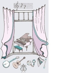 window music2 color vector image