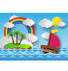 Yacht on sea and rainbow vector