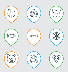 Zoology icons set with seafood fish bone deer vector