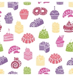 Cakes and sweets seamless pattern background vector image