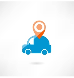 car with navigation icon vector image