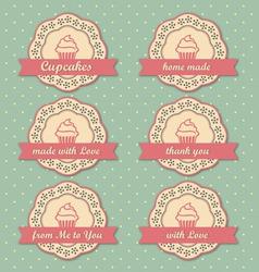 Cupcakes retro style tags set on retro polka dots vector