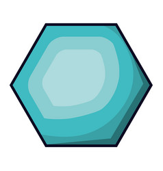 hexagon emblem in aquamarine color with brightness vector image vector image
