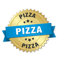 pizza 3d gold badge with blue ribbon vector image