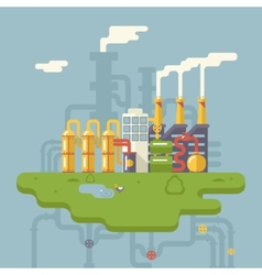 Retro Flat Factory Refinery Plant Manufacturing vector image vector image