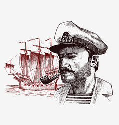 sea captain against the background of sailboat vector image vector image