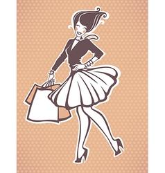 shopping girl vector image vector image