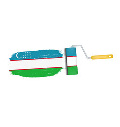 brush stroke with uzbekistan national flag vector image