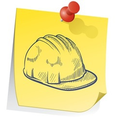 doodle sticky note saftey hat vector image vector image