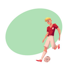 handsome blond soccer football player in uniform vector image vector image