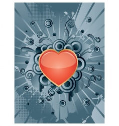 heart with floral elements vector image vector image