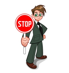 Man with stop sign vector image