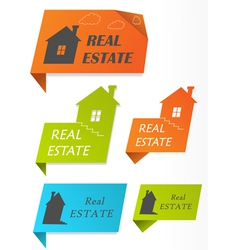 paper stickers with houses vector image vector image