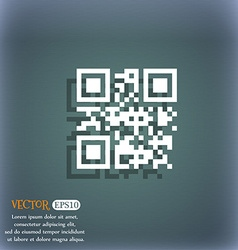Qr code icon symbol on the blue-green abstract vector image vector image