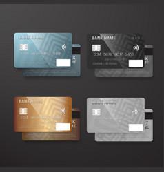realistic credit card template set bank card vector image