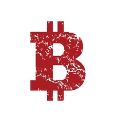 Red grunge Bitcoin logo vector image