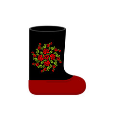 russian winter boots valenki khokhloma painting vector image vector image