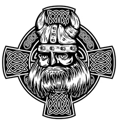 viking and celtic cross vector image
