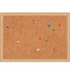blank cork notice board with thumbtacks vector image