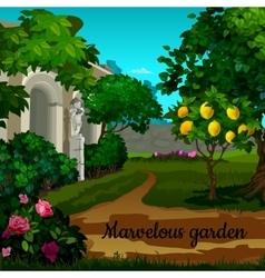 Magic garden with citrus tree and statuett vector image
