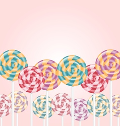 Multicolored lollipops on pink vector image