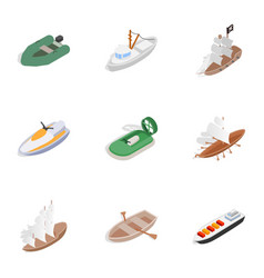 sea transport icons isometric 3d style vector image