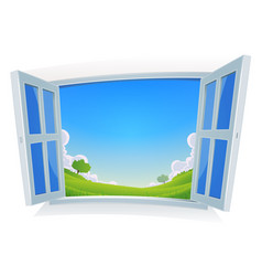 spring or summer landscape by the window vector image