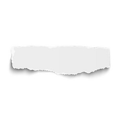 white oblong paper tear with soft shadow isolated vector image vector image