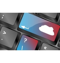 Enter the cloud with a cloud computing key on vector