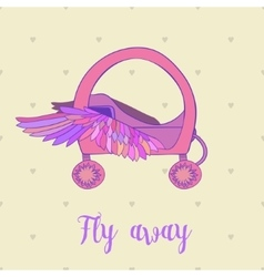 Fairytale Royal pink princess carriage orchariot vector image vector image