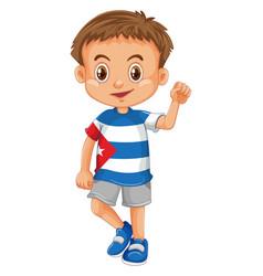 Little boy wearing shirt with cuba flag vector