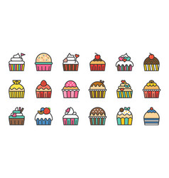 set of cute fancy cup cake filled outline icon vector image vector image