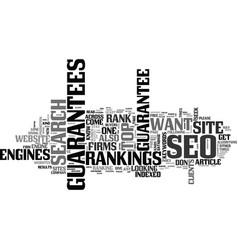Why clients seek seo guarantees text word cloud vector