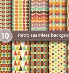 10 retro seamless background vector image