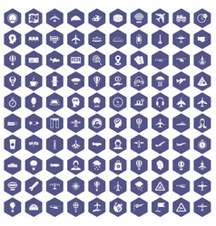 100 aviation icons hexagon purple vector