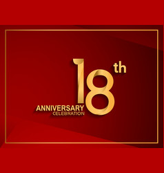 18 anniversary celebration logotype golden color vector