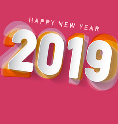 2019 happy new year design on pink background vector image