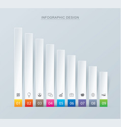 9 graph data infographics tab paper index vector