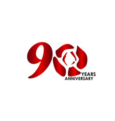 90 year anniversary flower template design vector