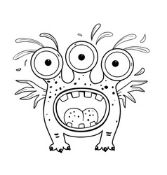 Alien monster coloring book page outline cartoon vector
