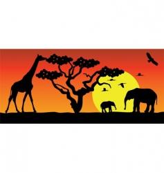 Animals in africa vector