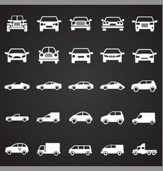 automobile icons set on black background for vector image