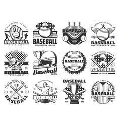 baseball sport items and players vector image