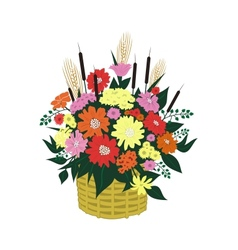 Basket of abstract flowers vector image