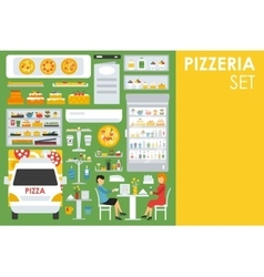 Big detailed Pizzeria Interior flat icons set vector