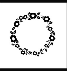 Black and white vintage Flower ring frame vector image