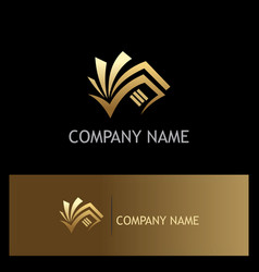 book document business gold logo vector image vector image