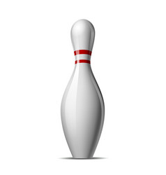 Bowling pin with a colored stripe isolated on a vector