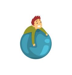 Boy having fun with big inflatable ball kid vector